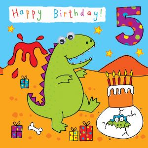 Childrens Birthday Card age 5 Dinosaur